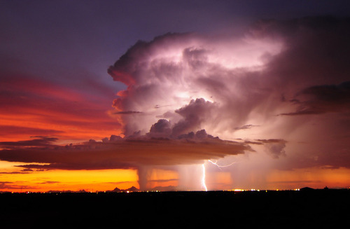 Amazing.  Lightning over Tucson, Arizona by   John Forrey