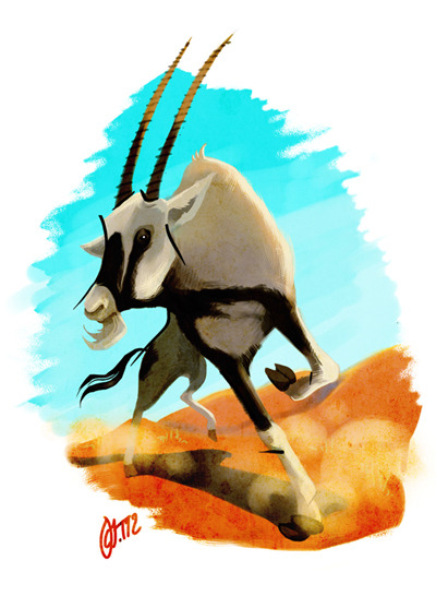 Digital practice & some colour studying. Meet my favourite antelope. (Jenna Tähtinen)