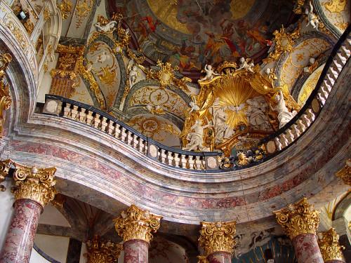 Germany Wurzburg Baroque Church Rococco Kirche Architecture Europe Fresco Ceiling Stucco Interior Deutschland Decorative Ornamentation Bavaria Bayern Rococo