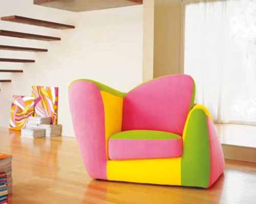 A quirky colourful bright chair, and it looks soo comfortable