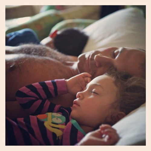 Happy Fathers Day! Waking up with both kids next to you is the greatest - photo taken by my better half x (Taken with Instagram)