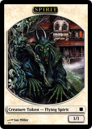 Magic The Gathering Spirit Token I made for one of my decks using the Magic Set Editor and Ian Miller's cover to the FF book House of Hell. Me, yesterday & Ian Miller, 1984.