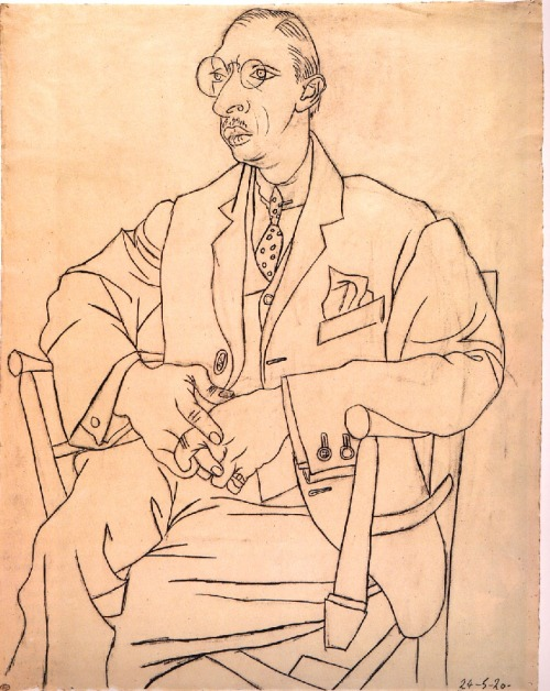 i12bent:  Pablo Picasso: Portrait of Igor Stravinsky, May 24, 1920 - pen