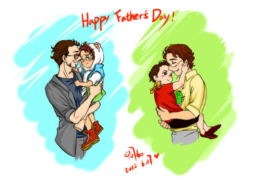 comuto:  The Avengers-science bros-happy father's day by ~innocence777 hey! happy father's day!i love little bruce and tony!_(:3」 ∠)_