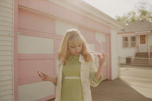 "scarlettshaney:  Petra Collins: Tavi Gevinson for Oyster Magazine. ""Since I've been interested in fashion I've organised different colours, motifs, references, songs, movies, books, types of weather, etc, into different sorts of worlds and characters, using my blog, my outfits, collages, zines, the playlists I make for the week — so that I plan on living in a specific world and being that specific character. For some reason it just gives me a great deal of satisfaction. I like that I have different parts of myself that I can channel and tap into creatively, depending on my mood. I like drawing parallels between something going on in my actual life and the kind of aesthetic world I'm into at the same time. It means the actual life stuff makes more sense."" - Tavi Gevinson."