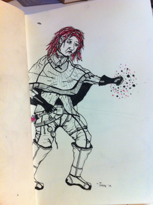 A sketch of a young Emperor's Hand in training, Mara Jade. I tried to go for a look that is somewhere between what an actual hipster teenager might where and what an Imperial assassin in Star Wars might.