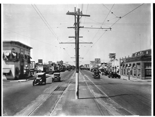 1927.  Van Nuys Blvd at Delano Street.  Looking to the north.