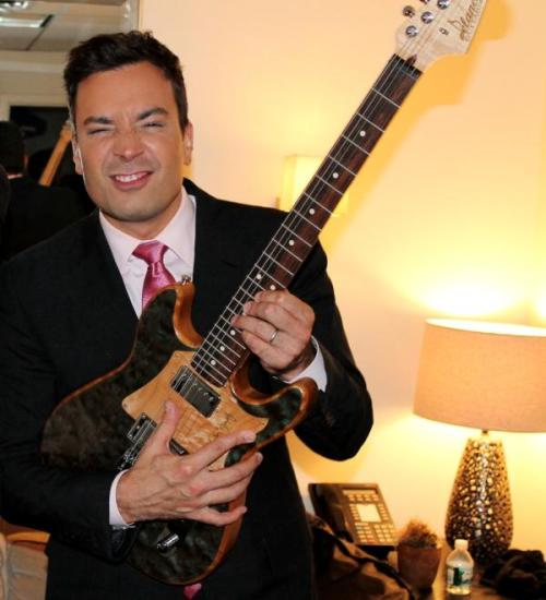 "Jimmy Fallon shredding on his new Delaney ""Matt Guitar Murphy"""