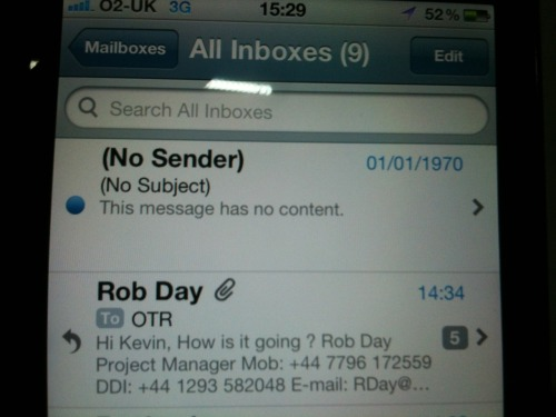 Kev got this real strange email…..it then disappeared 5mins after…then he got another about an hour later.  He thinks it's Marty McFlys re-wired pager.
