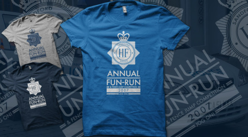 …and this is another great Hot Fuzz Fun Run T-shirt that somebody has already designed, Jog On by Fadeworks, which is up for voting over at Qwertee now!