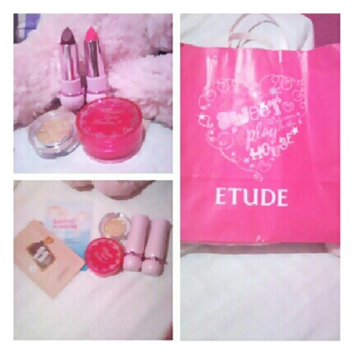 New #makeup from #Etude #philippines ! Super #pink! #lipstick #cosmetics #fashion #filipina #fashionista #happiness #instagramer #kikay #love #style  (Taken with Instagram)