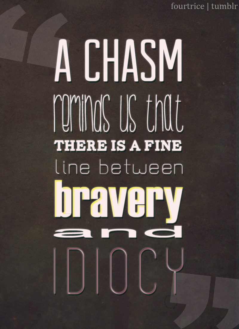 "fourtrice:  ""A chasm reminds us that there is a fine line between bravery and idiocy."""