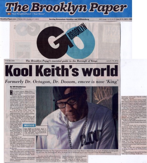 Kool Keith hits the 'Brooklyn Paper' cover (Vol. 35 #23 June 2012)