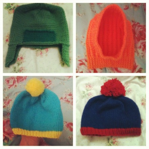 Knitted South Park baby hats yeah?