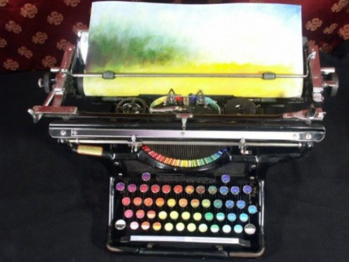 The typewriter is the work of Washington-based painter Tyree Callahan, who replaced the letters and keys with color pads and hued labels so that instead of typing words, you can essentially type a painting [x]