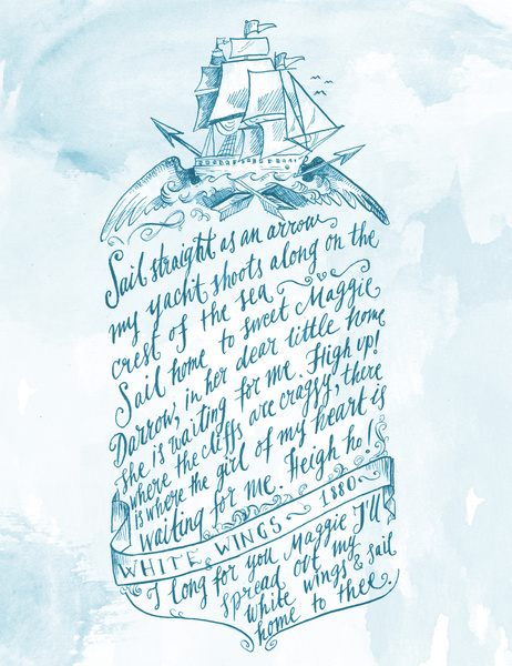 Olde sailor song, calligraphy by Biljana Kroll