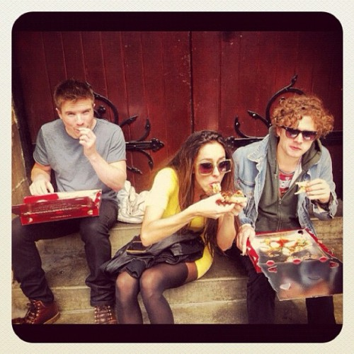 """Pizza. Always pizza. @harrywilkinson @joedempsie @finnjones"" - @OonaCC"