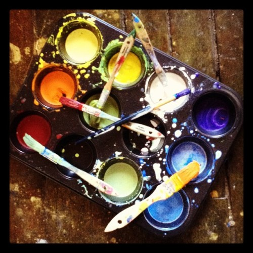 Cleaning up the studio - remains of SameSEX. #305knowlton #encaustic #roygbiv #wax #art #bridgeport #color #photography  (Taken with Instagram)