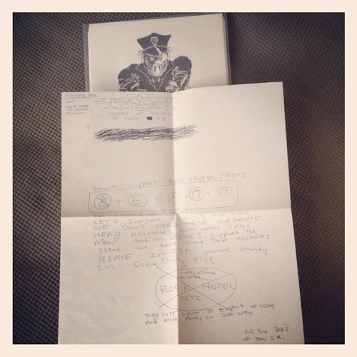 camewithoutwarning:  End the Warzone comp with handwritten letter by Tommy Carroll denouncing Rock Hotel/Ritz shows. (Taken with Instagram)