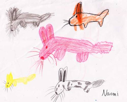 4footninja:  Bunny Bonanza 2012-crayon  The world can never have too many bunnies.