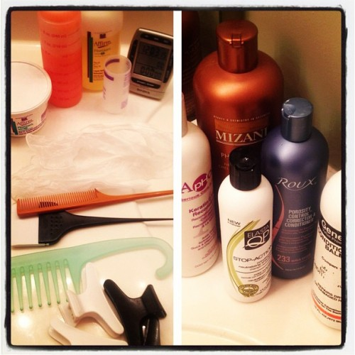 My tools: I'm ready to get this thang started. #relaxedhair #fancyflairlady (Taken with Instagram)
