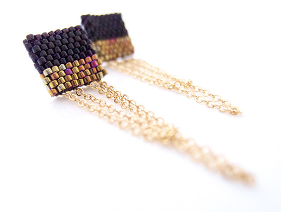 (via Black and Gold Earrings Color Block Earrings by JeannieRichard)