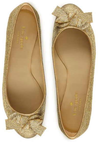 "On My Radar: Kate Spade ""Felix"" gold flats, $198."