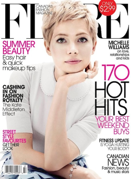 The beautiful Michelle Williams covers Flare magazine's July 2012 issue