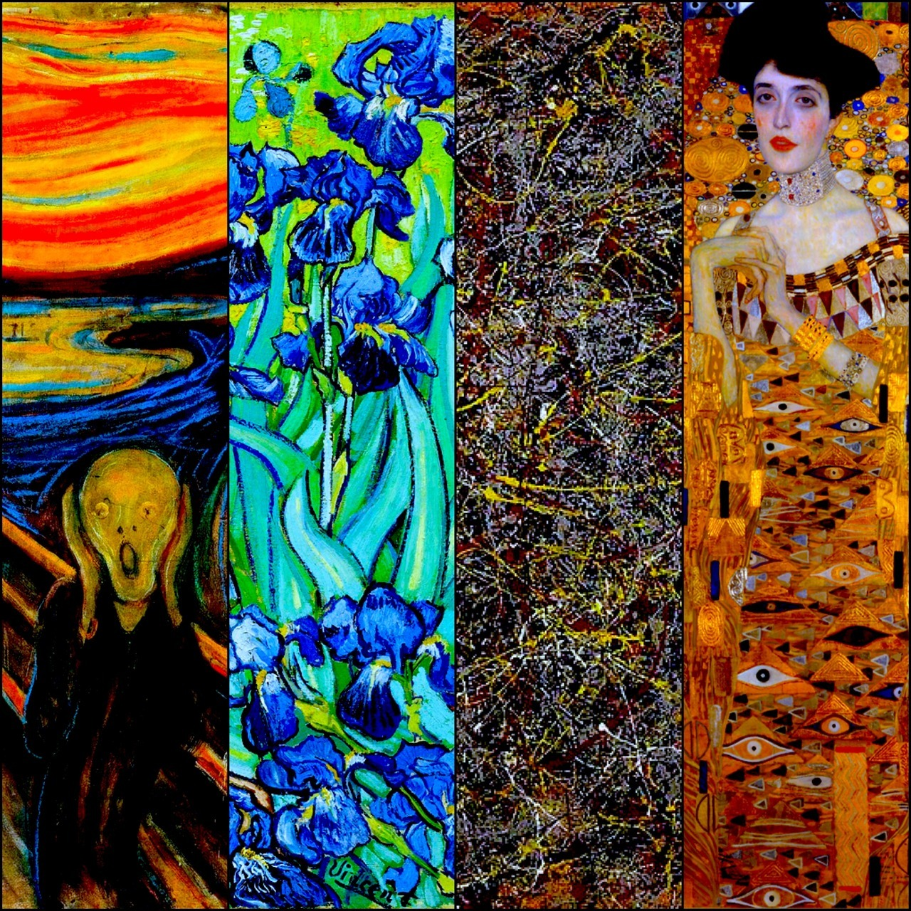 alexeipaedia:  Artsy Pricy in Millions from L to R Sold - Painting : Artist, Year $119.9 - The Scream : Edvard Munch, 1895 $53.9 - Irises : Vincent van Gogh, 1889 $140 - No. 5, 1948 : Jackson Pollock, 1948 $135 - Portrait of Adele Bloch-Bauer I : Gustav Klimt, 1907