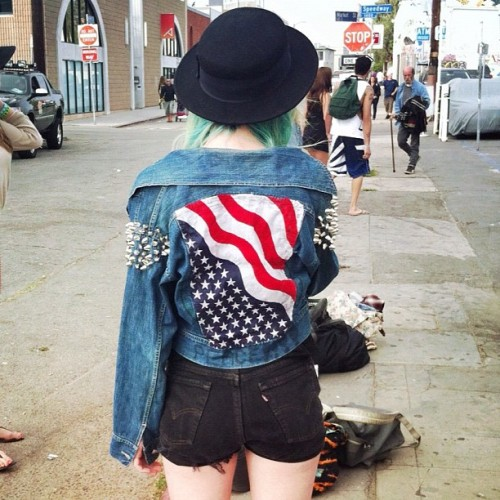 I reconstructed this vintage jean jacket. American flag back panel and studded shoulders. Do you think I should add this to my next line? (Taken with Instagram)