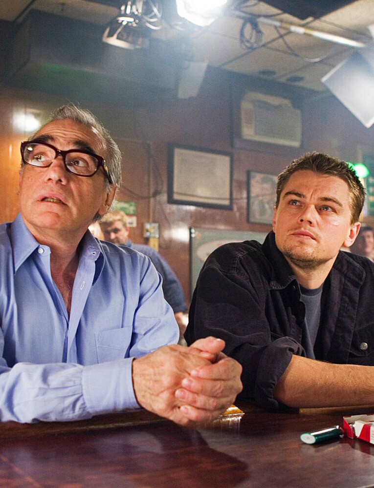Martin Scorsese and Leonardo DiCaprio on the set of The Departed (2006)