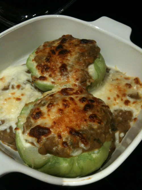 Lunch: Chayote squash topped with stewed lentils and cheese (mozzarella and parm).