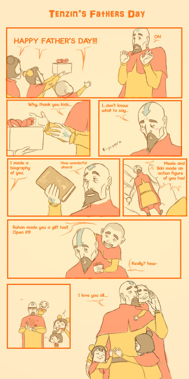 minuiko:  franhadez:  HAPPY FATHER'S DAY A little comic strip of Tenzin and the Air Babies! Pema and Rohan are sleeping that's why they aren't here. :P Have a happy father's day everyone!     Tenzin is the best daddy ;_;