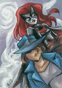 The Question & Batwoman.  Sketchcard, 2.5x3.5 inches, ink and marker.