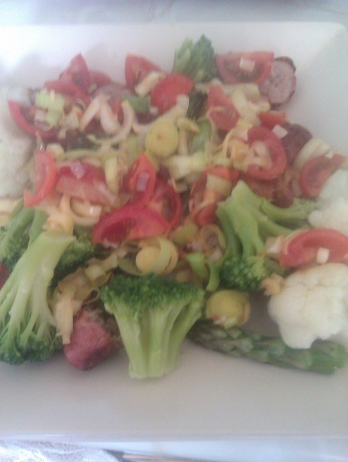 Dinner. Sausages, asparagus, broccoli, cauliflower, leeks and tomatoes. Leeks go great with sausages, and new discovery I am becoming addicted to asparagus :-)