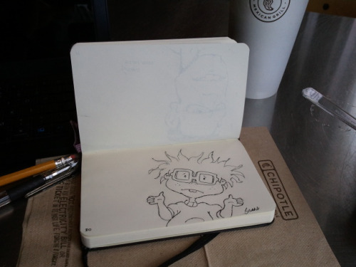 Chuckie don't know. Lunchtime drawing at Chipotle.