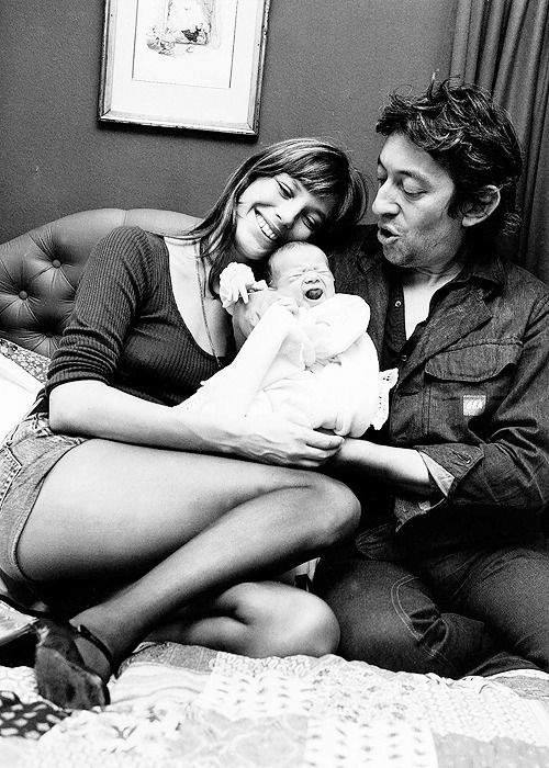 Jane Birkin & Serge Gainsbourg with new born daughter Charlotte, 1971.