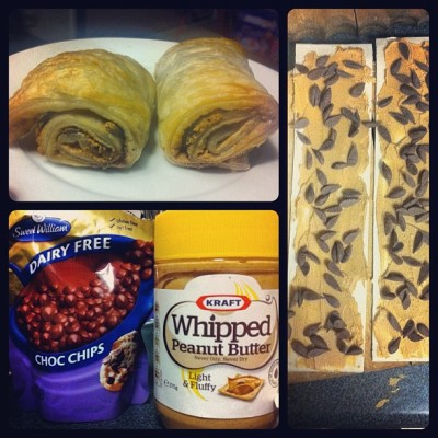 Whipped peanut butter and chocolate puff-pastry rolls. What better is there to do at 2:45am? (Taken with Instagram)
