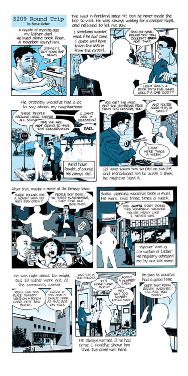 stevelieber:  For father's day, a strip about my father, Portland, and other stuff.  For father's day, a comic strip from @Steve_Lieber. Kind of sad.