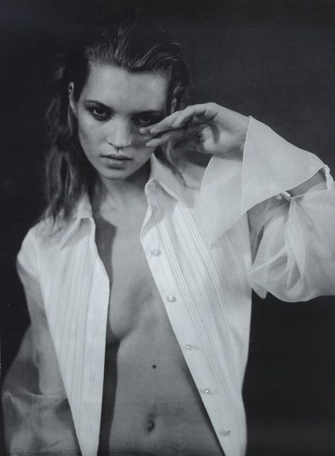 "editorialarchive:  ""Camicia Blanca"": Kate Moss photographed by Paolo Roversi for Vogue Italia, February 1996"