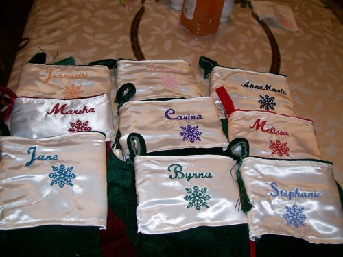 Christmas stocking with personalized name and snowflake embroidery