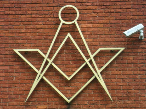 vwcampervan-aldridge:  Masonic Motif, Masonic Hall Aldridge. With CCTV camera.
