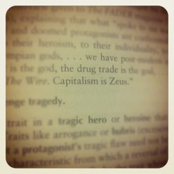 Capitalism is Zeus #zues #god #money #capitalism #greekmyth #metaphor #words #quote (Taken with Instagram)