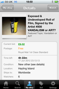 Did you know you can bid for an Exposed & Undeveloped canister using your phone?  Bidding for #008 ends tonight. If you want to own the mystery of Vandalism or Art, act now!  Search eBay for 'Vandalism & Art'.