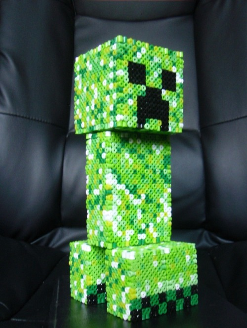 it8bit:  3D Perler Bead Minecraft Creeper Created by SirEschaton