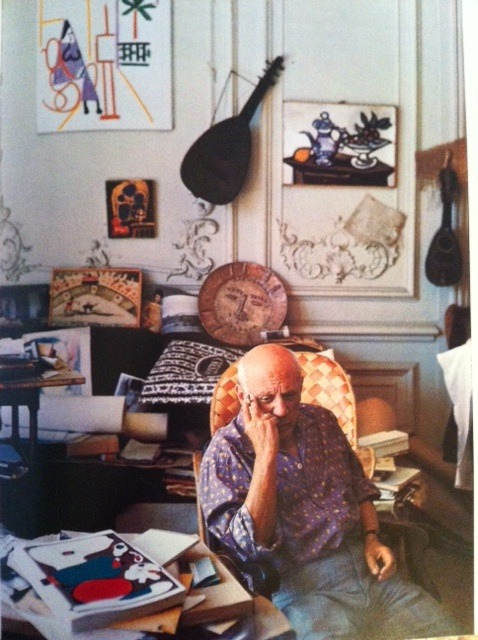 ovadiaandsons:  Picasso at his studio.