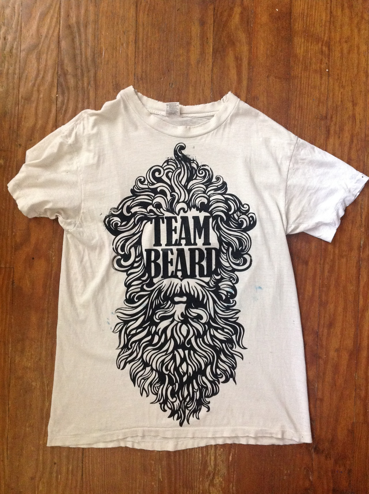 fuckyeahteambeard:  First test of the big screen print. Will probably make a new one since there's a lot of errors in this.  I'm sure most of yous guys won't care, but I've started an art project of sorts. If you like beards then go check it out. I'll be sending sticker packs out soon and selling shirts once I get a good screen burned.  There's also my personal blog if anyone wants to find out more about the man behind T&T.
