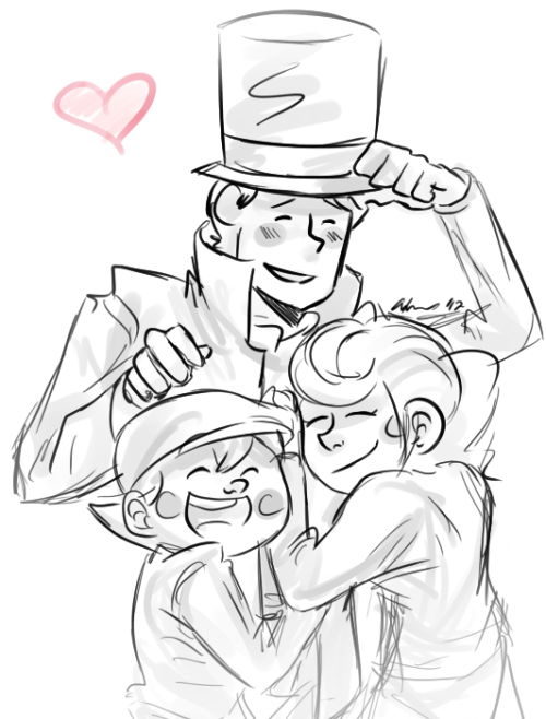 scribblylines:  happy fathers' day and all that jazz I'm not using that as an excuse to draw layton characters, what are you talking about?