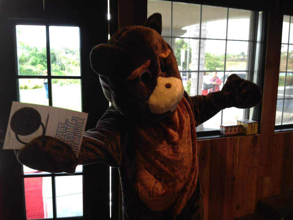 "Our mascot ""6th Grade Beaver Buddy"" was a huge hit this morning at our promotion Sunday service.   Jr. High Ministry=CRAZY FUN!"