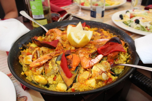 My delicious lunch today, Paella mixto. Salamanca, Spain. 2012.